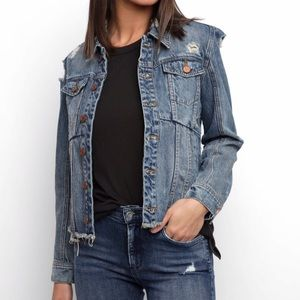 blank nyc cropped uneven fray hem jacket